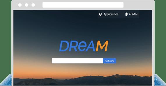 Moteur de recherche Dream - écran d'accueil